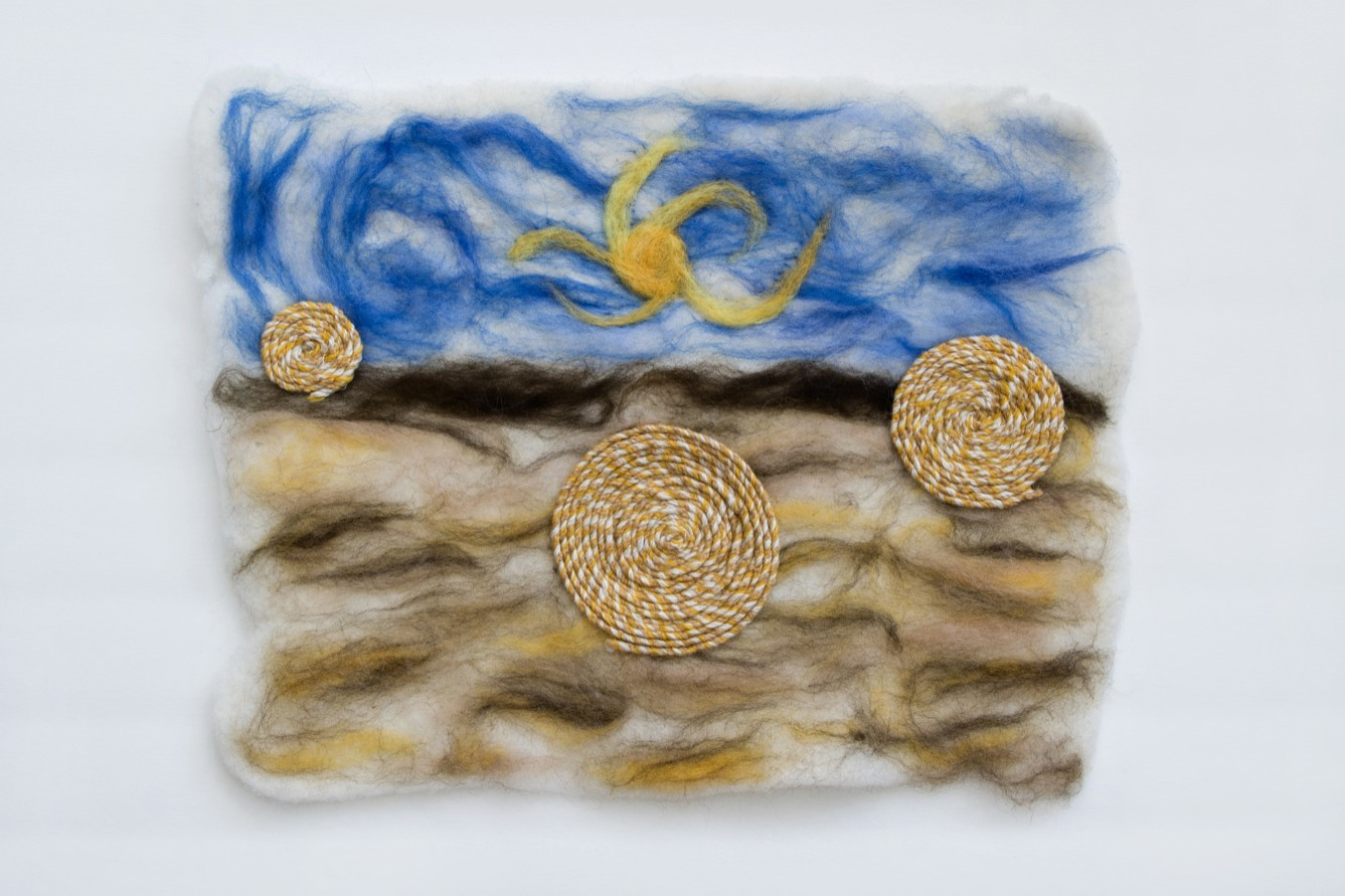 """""""Abundance"""" 13 by 17 inches. Felted wool, cotton and linen."""