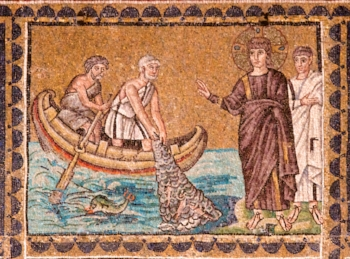 Calling of the Galilean Fisherman mosaic, Church of Sant'Apollinare Nuovo, Ravenna, Italy