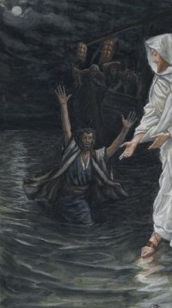 Peter Walking on Water toward Jesus  by James Tissot