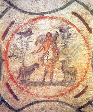 3rd-century fresco in the Catacomb of Priscilla depicting Christ the Good Shepherd