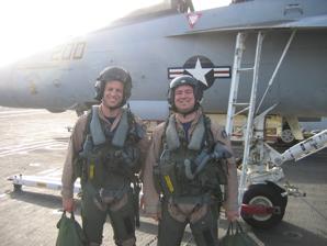 Derrick (right) with his WSO, LT Sam Fletcher (USNA '03)