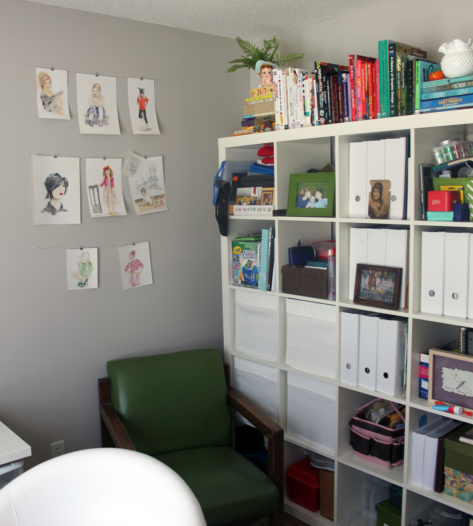 """Another view... the shelves are not exactly """"styled"""" yet but that will come eventually. I want them to function as well as look good so I plan to take my time."""