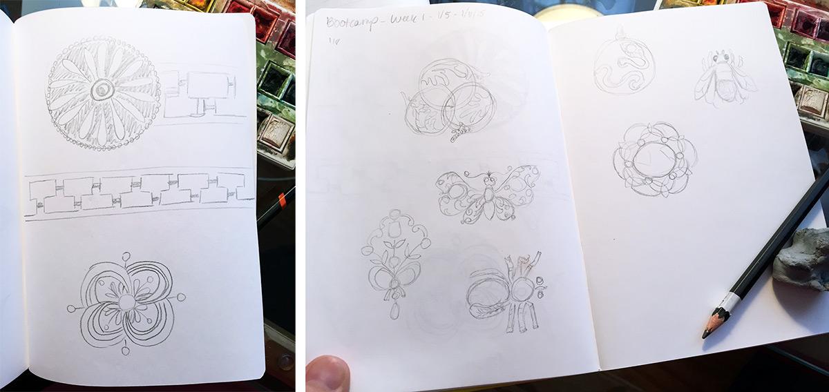 drawingsarah.com | initial Edwardian brooch sketches