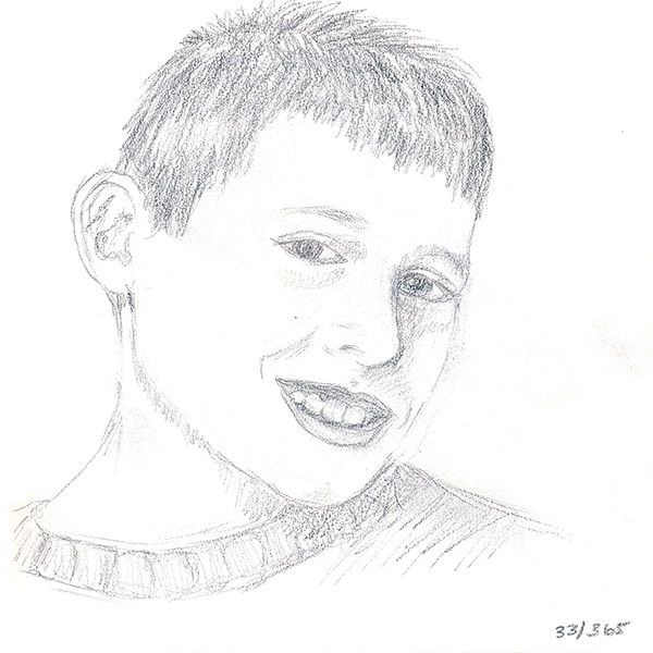 My son, Aiden. His face is a little wonky (in the drawing, not in real life!). This one made me remember that boys are hard to draw!