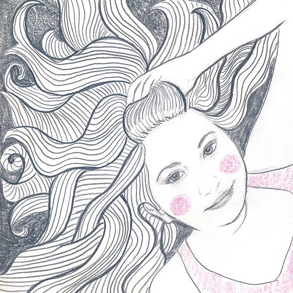 38/365 - a friend asked me to draw her picture in this style. I was happy with how it turned out - and so was she!