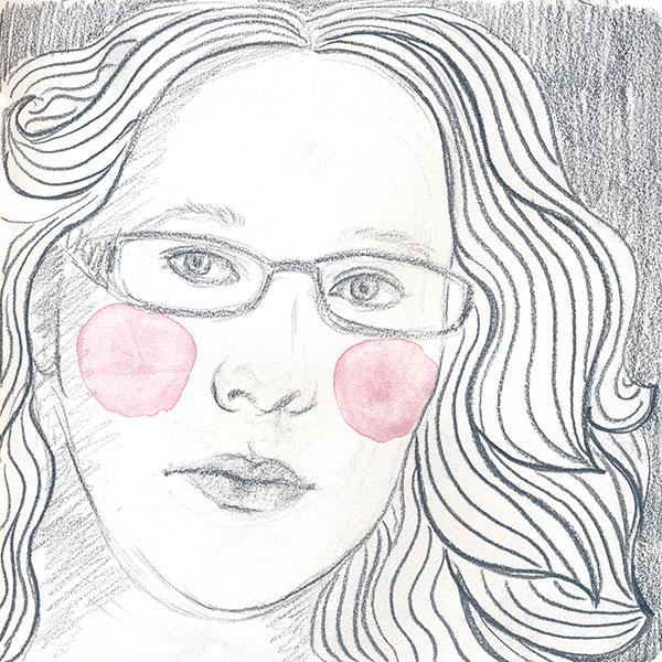 59/365 – Self-portrait, pencil and watercolor