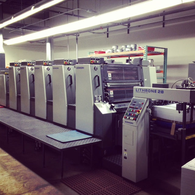 One of the main hubs of printing here at GP, our Komori!