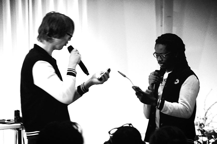 Larry Achiampong & David Blandy, 'Media Minerals' perfomance at ICI, Berlin 2015