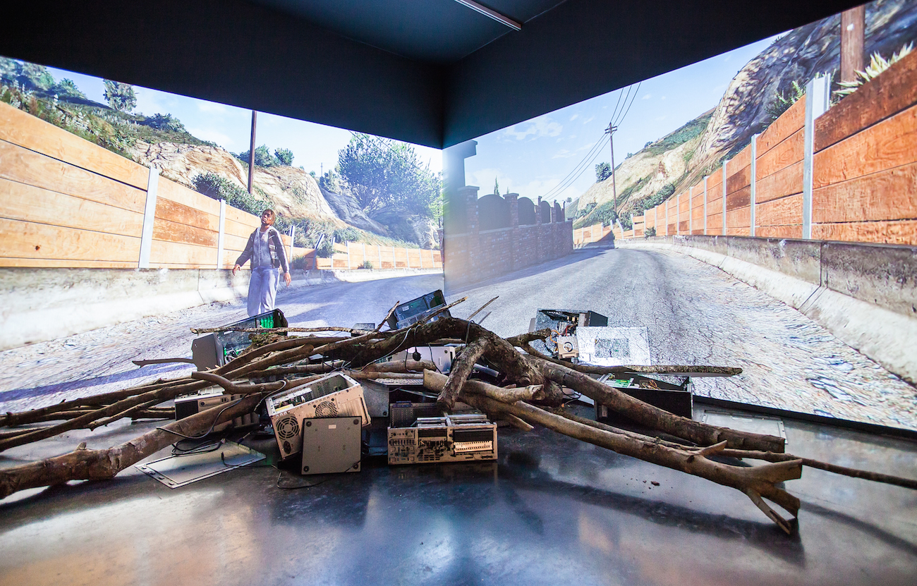 Larry Achiampong and David Blandy, FF Gaiden ESCAPE, 2017, installation view, 'Untitled: Art On The Conditions Of Our Time', New Art Exchange, Nottingham. Photo: Bartosz Kali