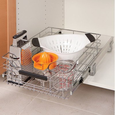 Wire or wood sliding drawers can be installed in most cabinets and provide easier access, especially for heavy pots and pans.