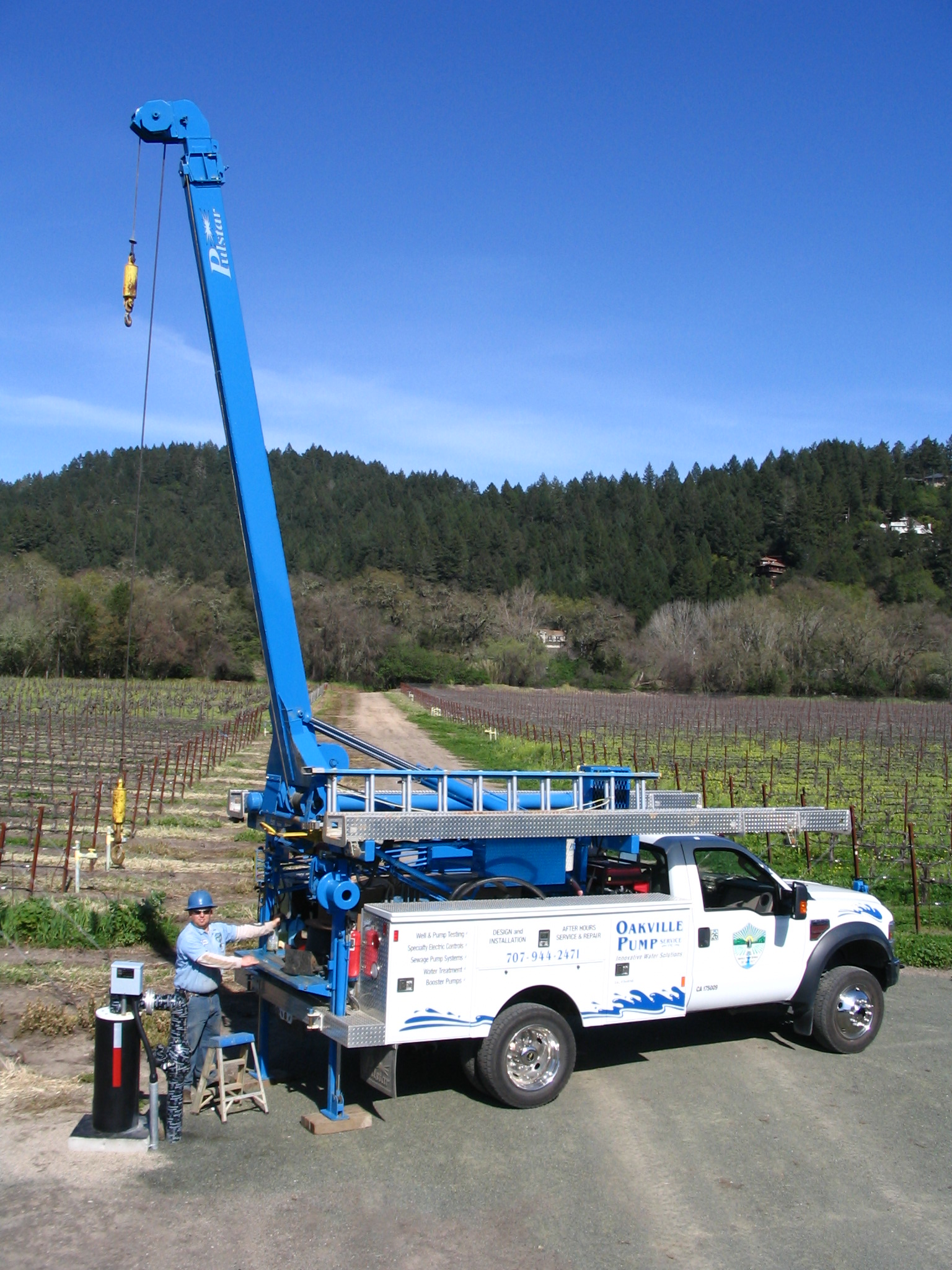 Installation of well pump for vinyard and winery water needs in Napa, Sonoma County.