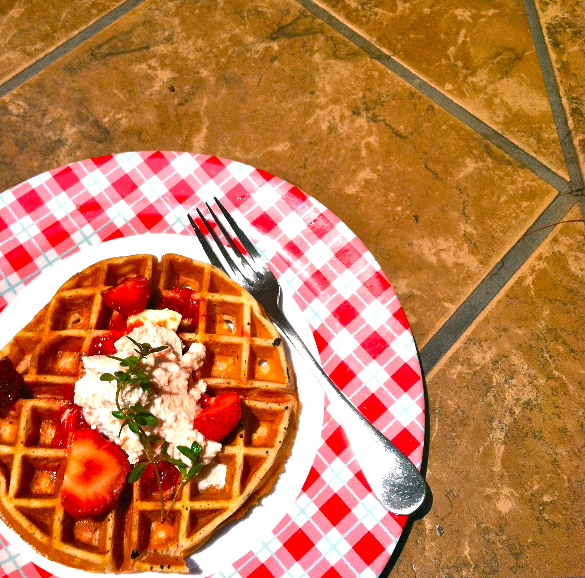 Strawberry Thyme Waffles