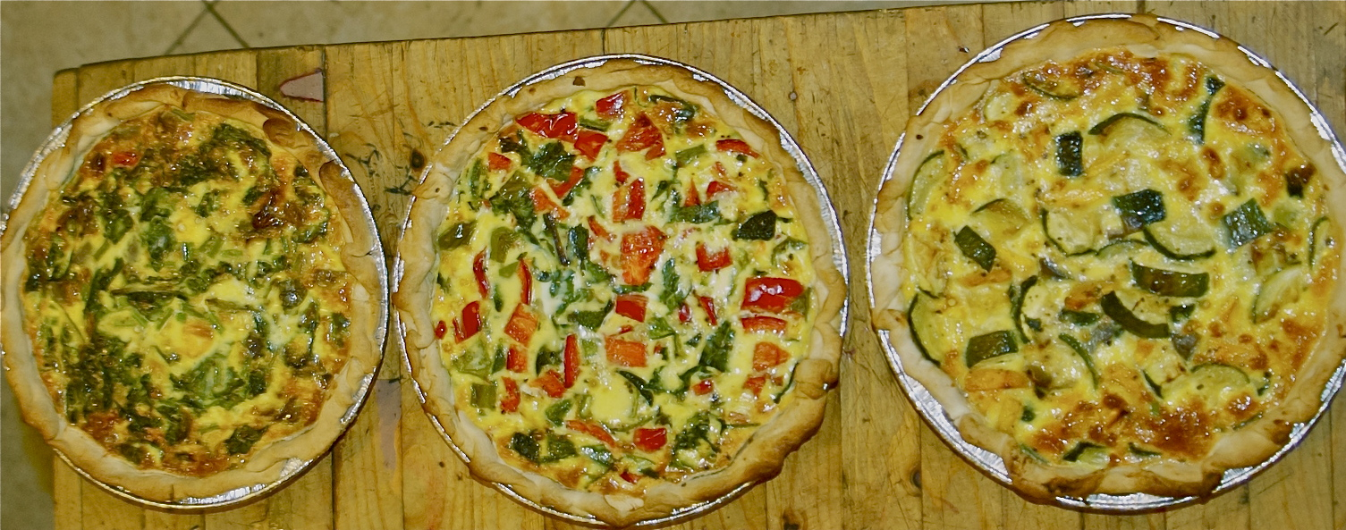 {Caramelized Onion, Cheddar, Purple Potato and Chive Quiche} + {Zucchini, Buttercup Squash, Green Bean & Goat Cheese Quiche}+{Tomato, Bell Pepper, Greens and Mozzarella Quiche}