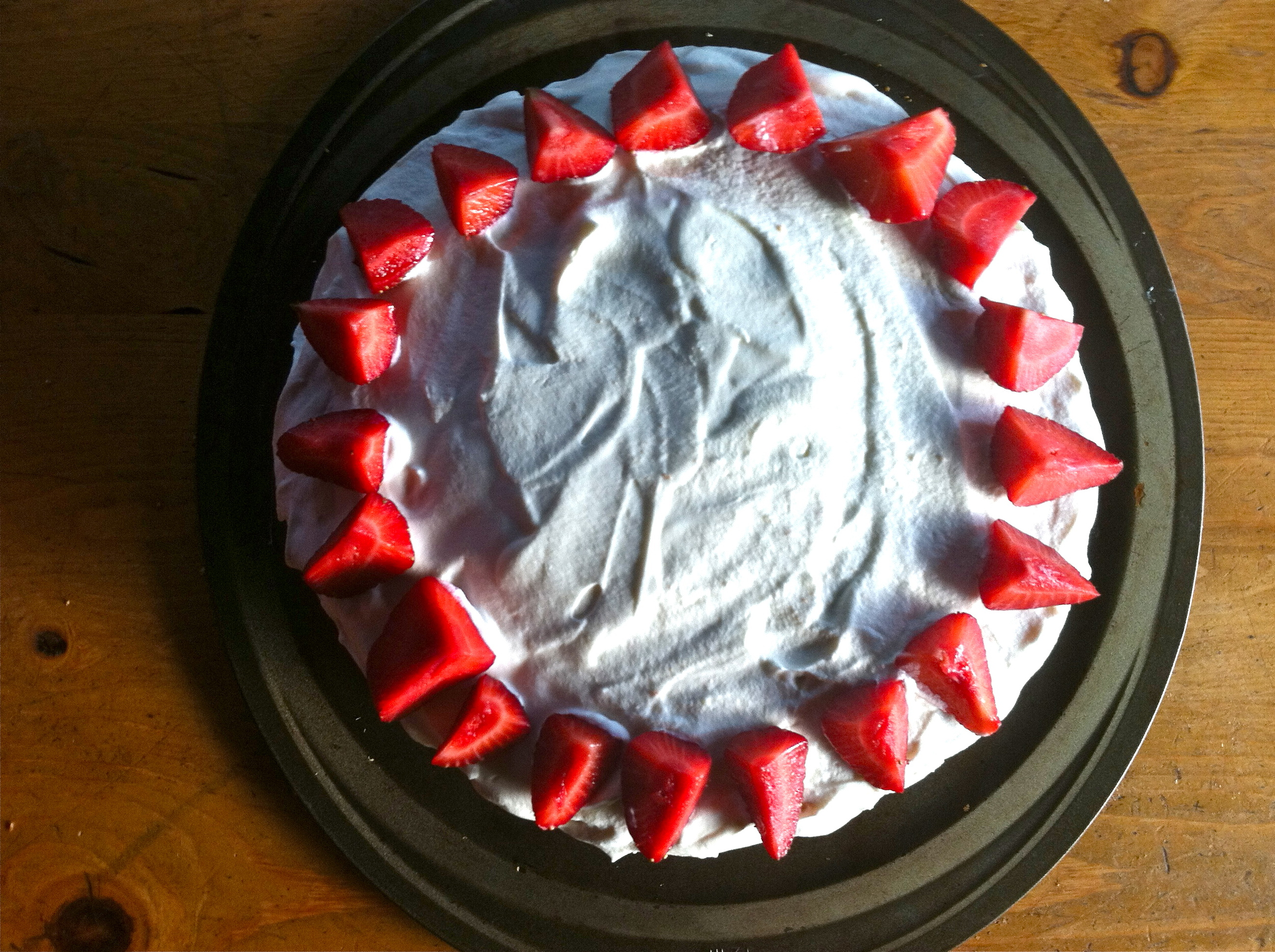 Fresh Strawberry Birthday Cake with Whipped Cream