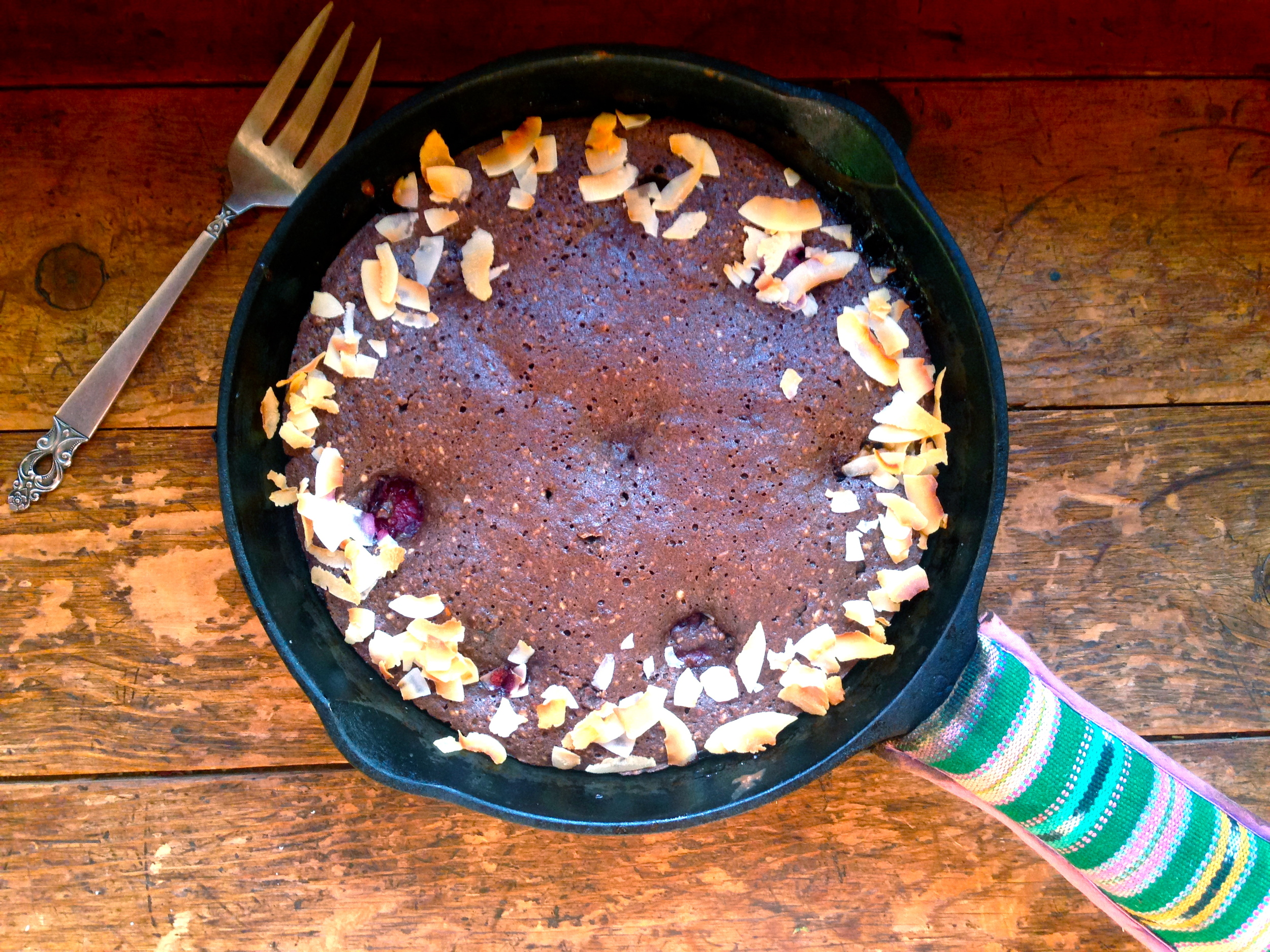 Chocolate Skillet Cake with Santa Rosa + toasted Coconut shavings