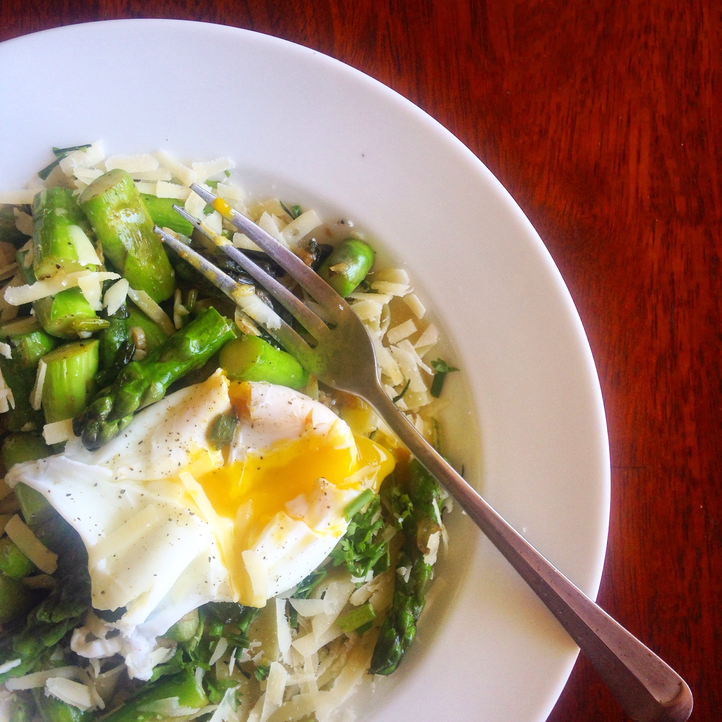 Asparagus + Spring Onion Papperdelle with Brown Butter + Farm Egg