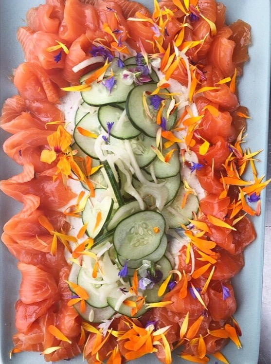 King Salmon Crudo from H&H by Chef  Chris Curtiss  at Secret Sea Cove Santa Cruz, California