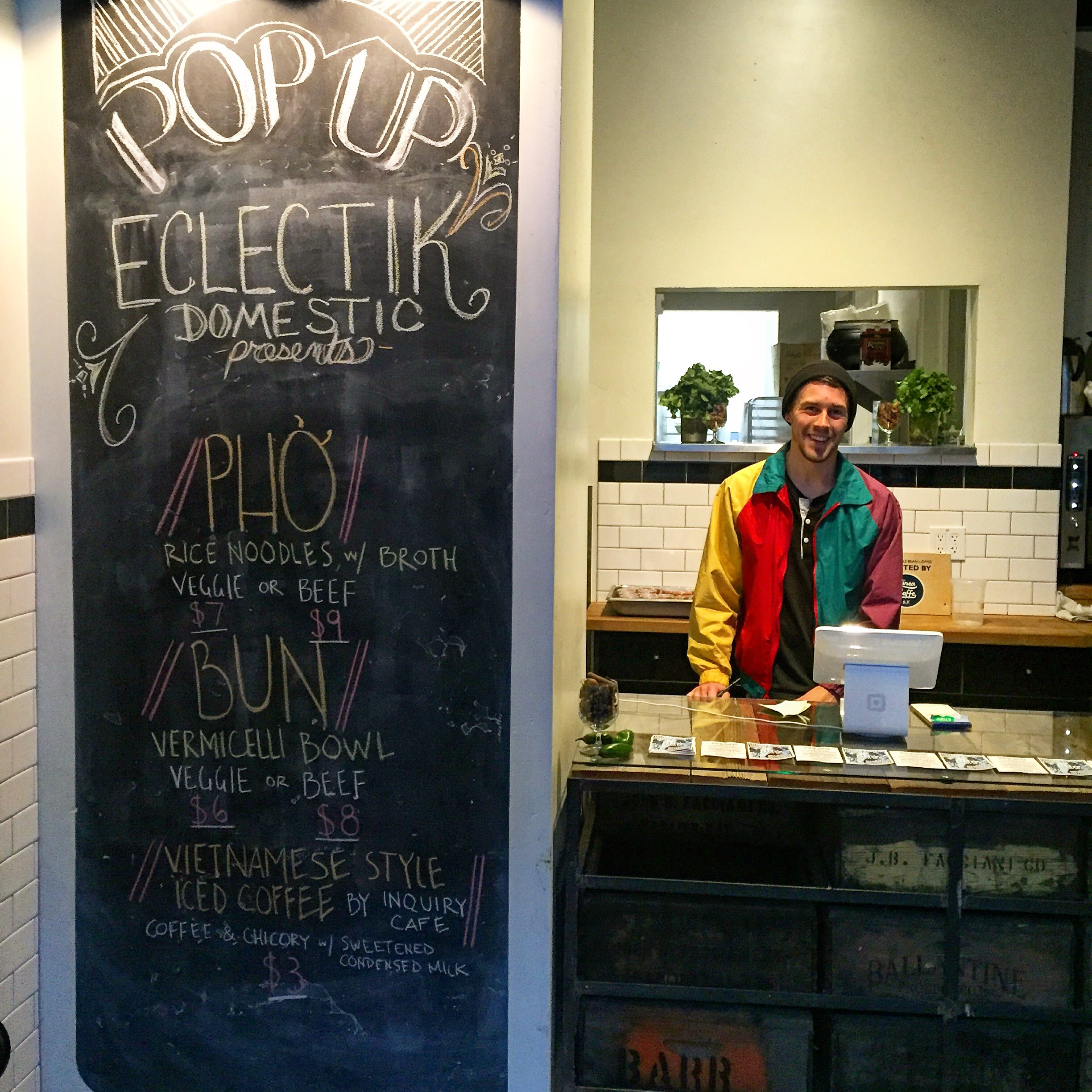 The lovely Justin Williams of Inquiry Cafe cheesin' with our Pop Up Menu// Santa Cruz, California