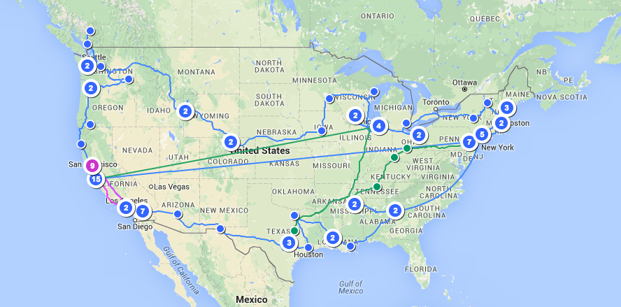 Tour Route- March- November 2015