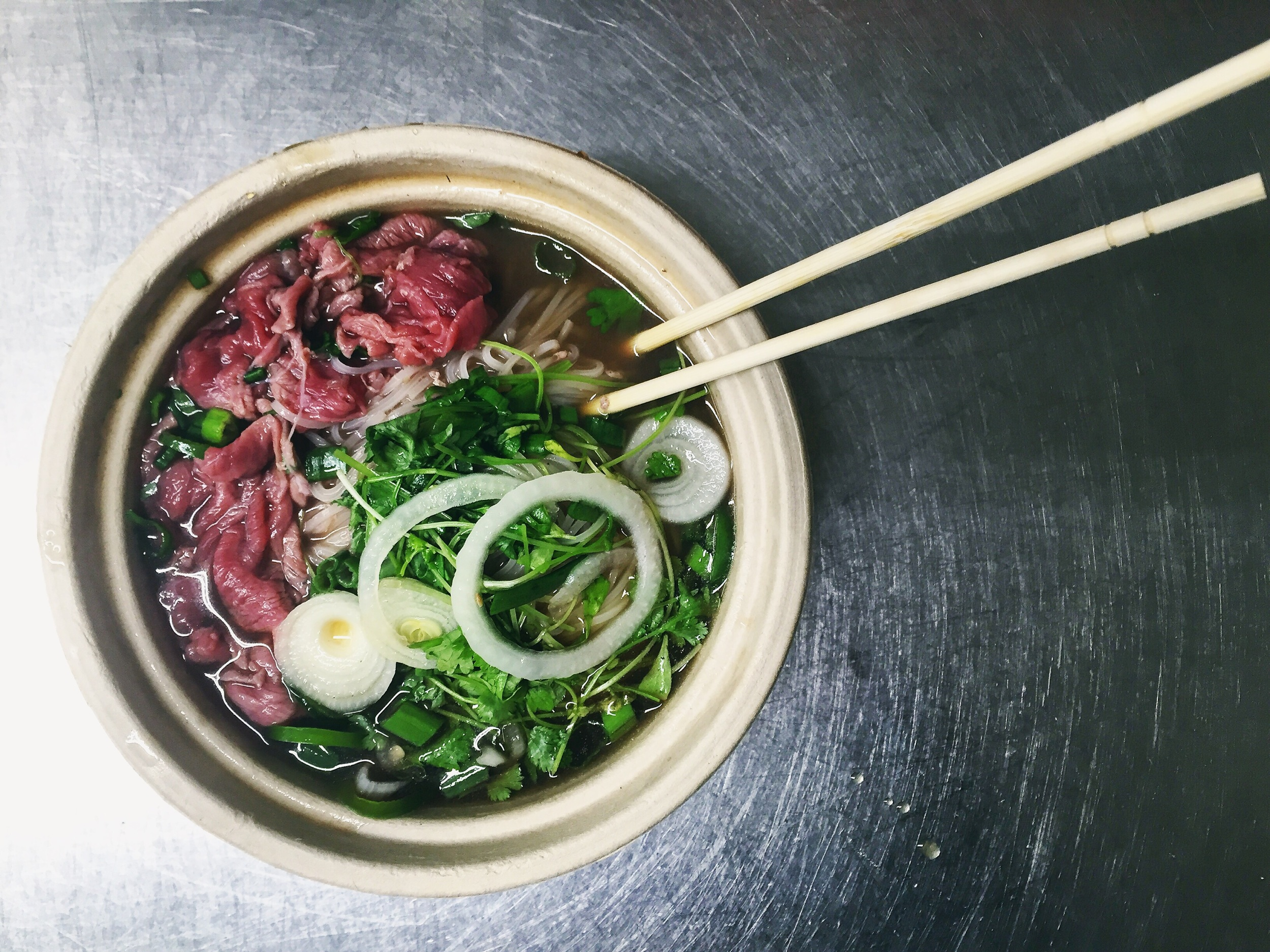 Our Pho with Rare Bobolink Beef and Peace Tree Farm Herbs// Frenchtown, New Jersey