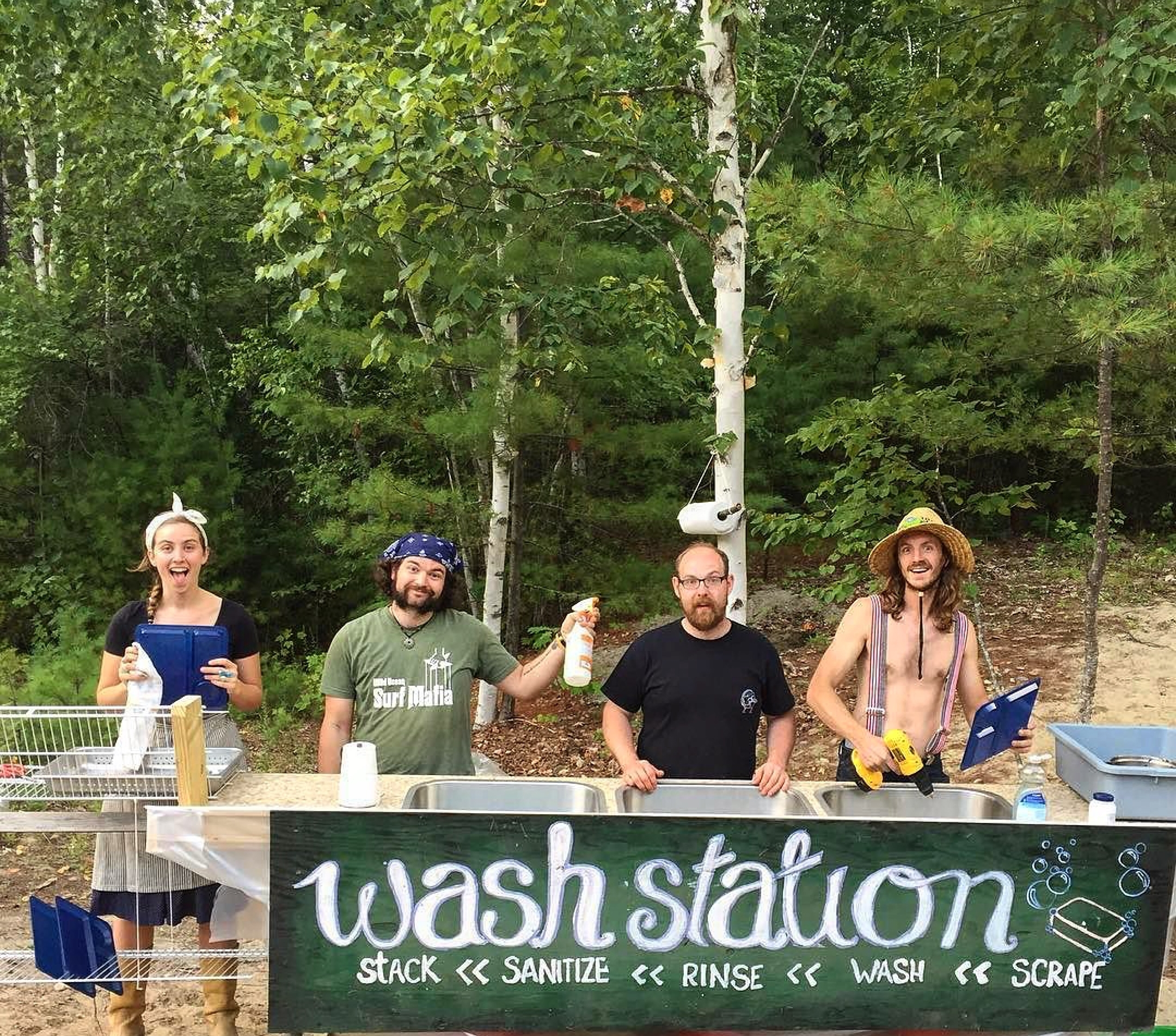Washing Station with the Crew (Me, Badger, Chef Pat + The Fire Marshal) // Belgrade Lakes, Maine