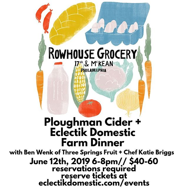 This Wednesday @rowhousegrocery! Come out for a summer feast with @ploughmancider and @3springsfruit. Bottles will also be for sale during store hours. Tickets are sliding-scale and no one will be turned away for lack of funds. Join us! #farmtotable #eclectikdomestic #rowhousegrocery #radicalhospitality
