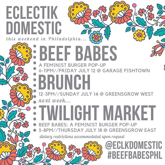 Hey Philly! Let me feed you this weekend and next Thursday. Friday I'll be @garagephilly fishtown, Sunday with @pentridgestation @greensgrowwest and next Thursday @greensgrow's Twilight Market! Rotating menu with regional produce, meat, cheese and bread. Come get some💗🌿☀️#beefbabesphl