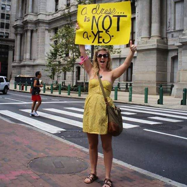 A friendly reminder from 2012 Katie. Slut Walk, City Hall, Philadelphia, Pennsylvania #adressisnotayes