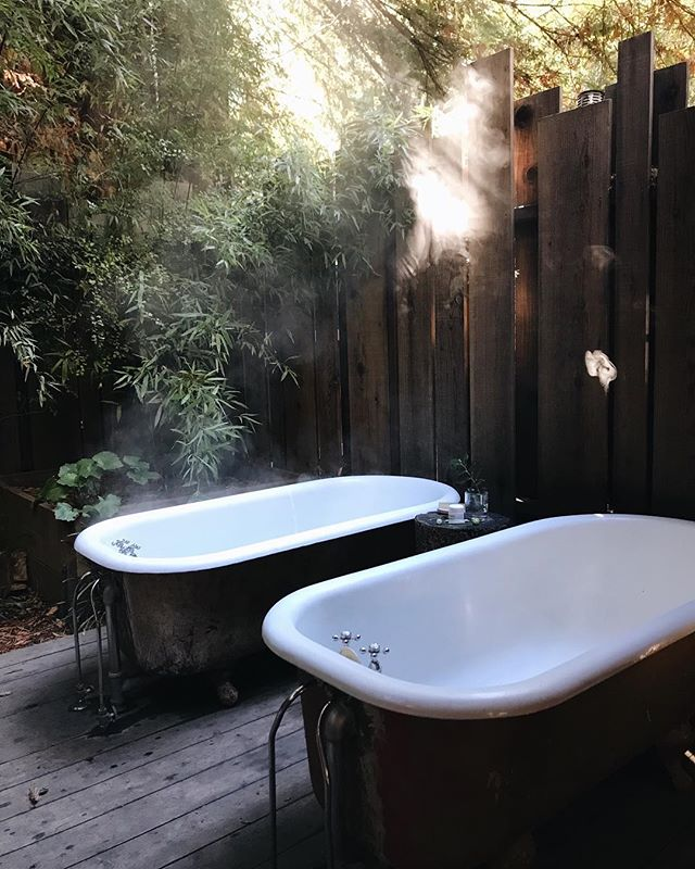 After last night and this morning, I am highly certain everyone must bathe amongst redwood trees at some point in their life ✨ Epic is an understatement. Also note... @mr.kristopher and I decided our future master bathroom will look a whole lot like this.  @glenoaksbigsur 🍃 XXVVH
