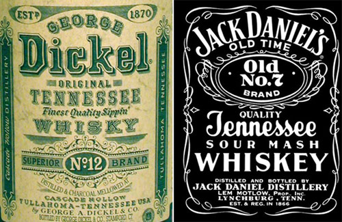 Dickel spells their whisky without an e while Jack Daniel's spells theirs with an e.