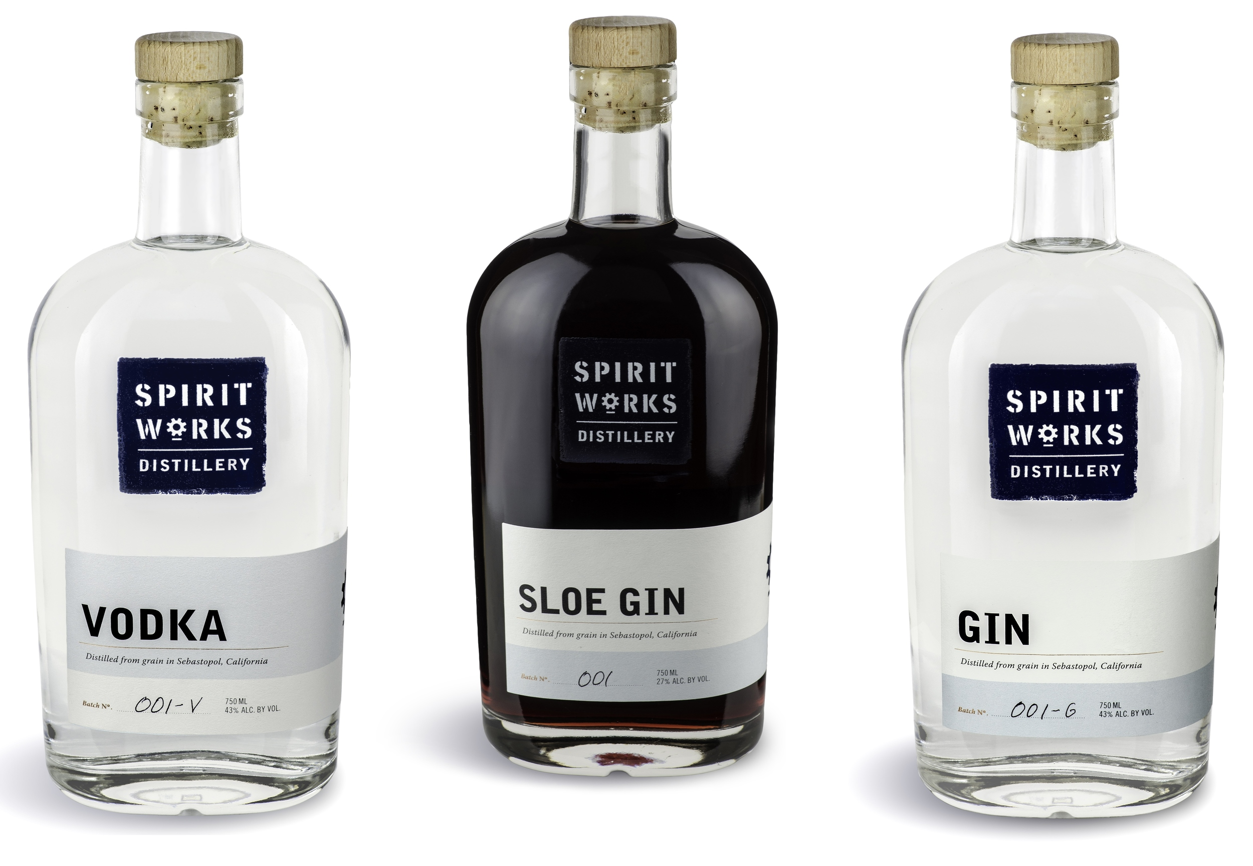 Spirit Works Vodka, Sloe Gin & Gin