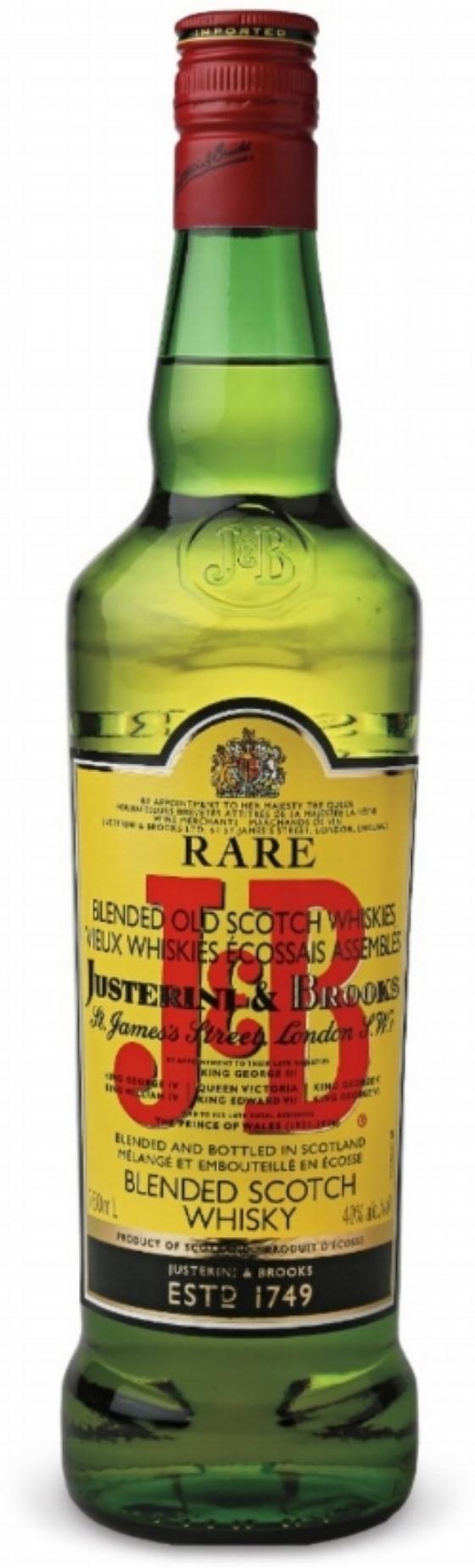 10.J&B Rare Blended Scotch Whisky