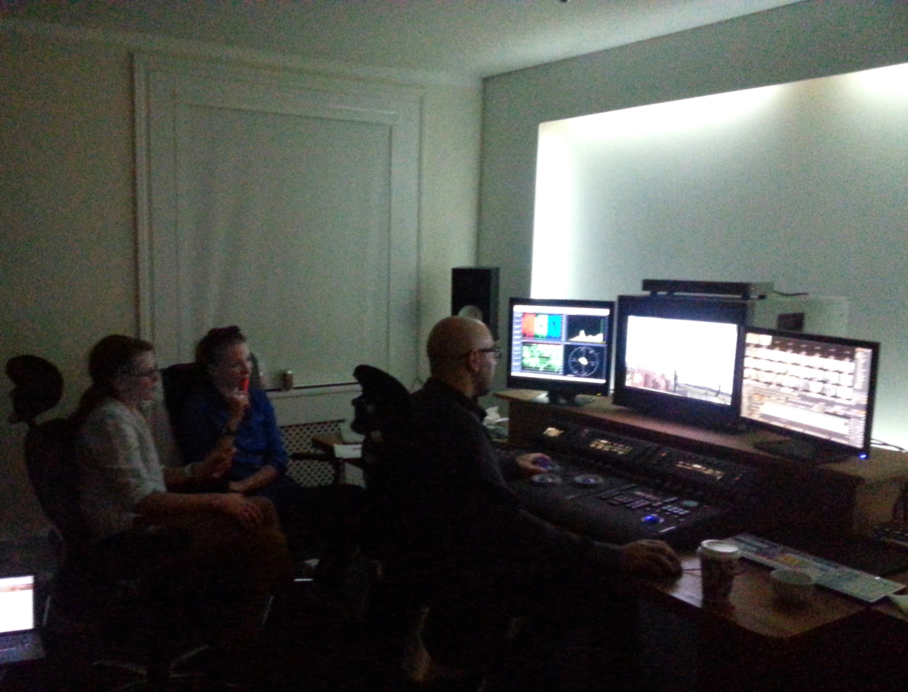 In the colour grade @ Rapid Pictures with Luciano! 1st day!