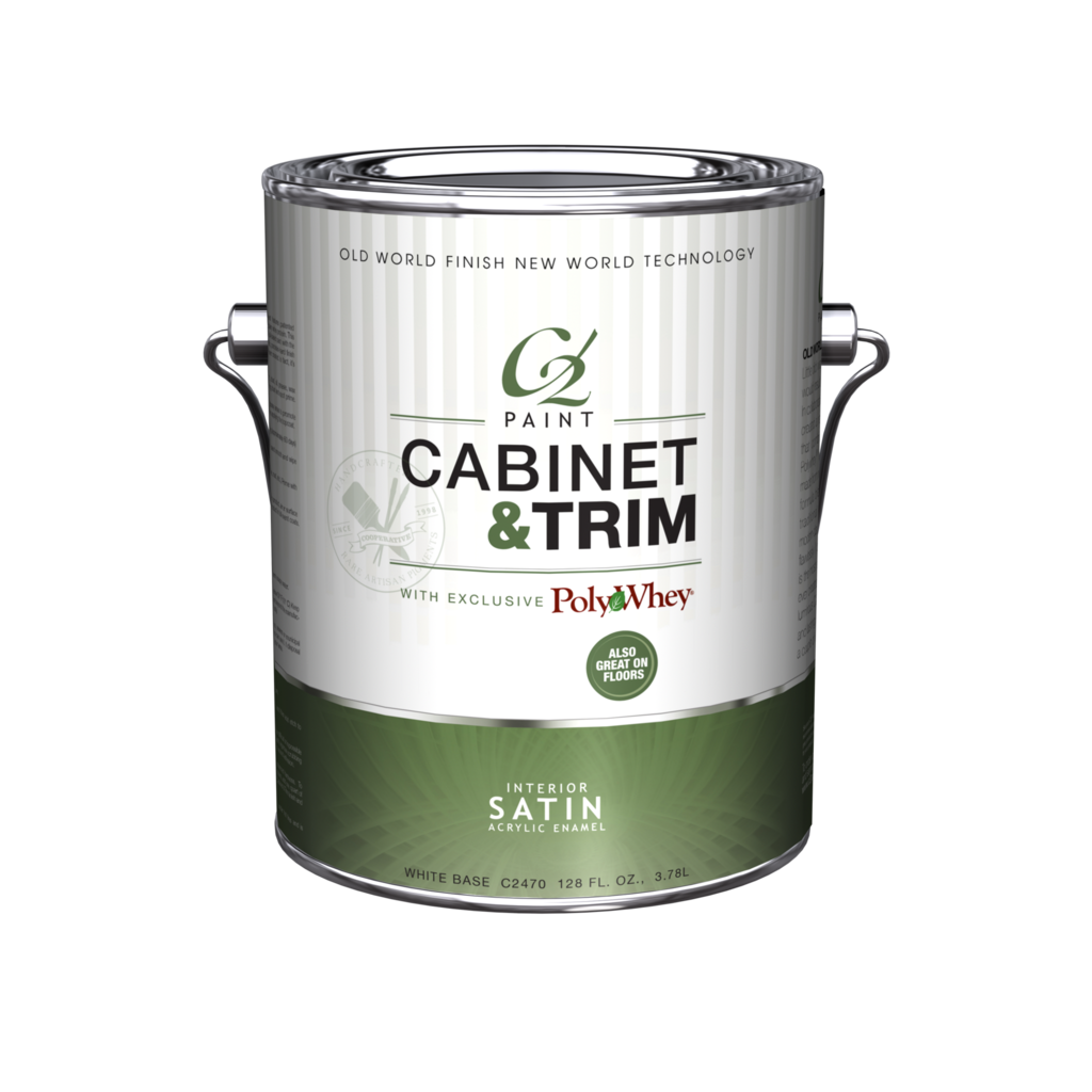 Cabinet & Trim - Satin  - Our revolutionary Cabinet & Trim Satin combines C2 Paint with patented PolyWhey® technology — a safe, easy-to-use finish using recycled dairy whey protein. This innovative formula blends the elegance of an
