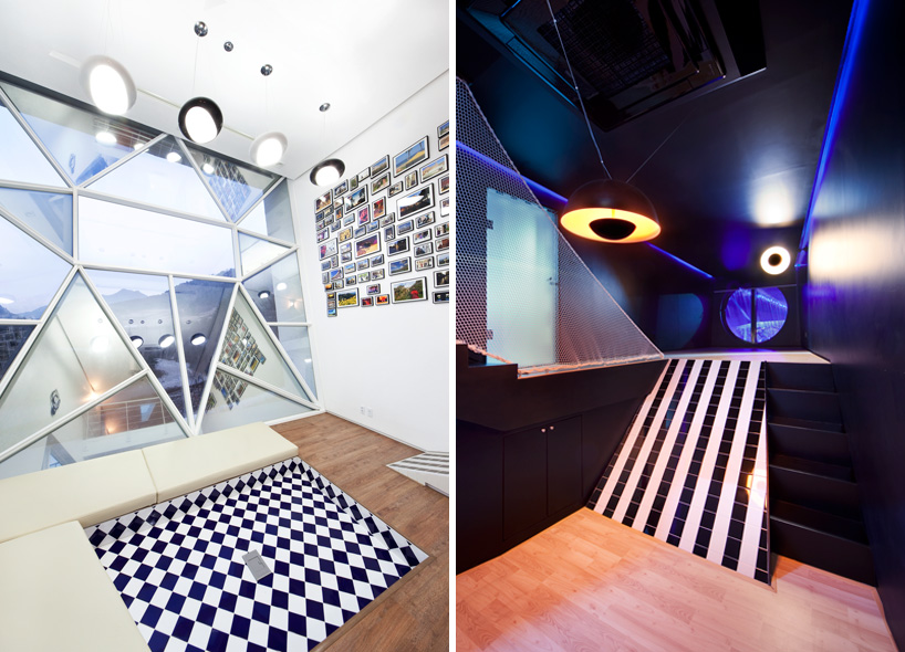 (left): the living space of 'Spanish Blue'.      (right): view from the kitchen of 'Stealth Black'.