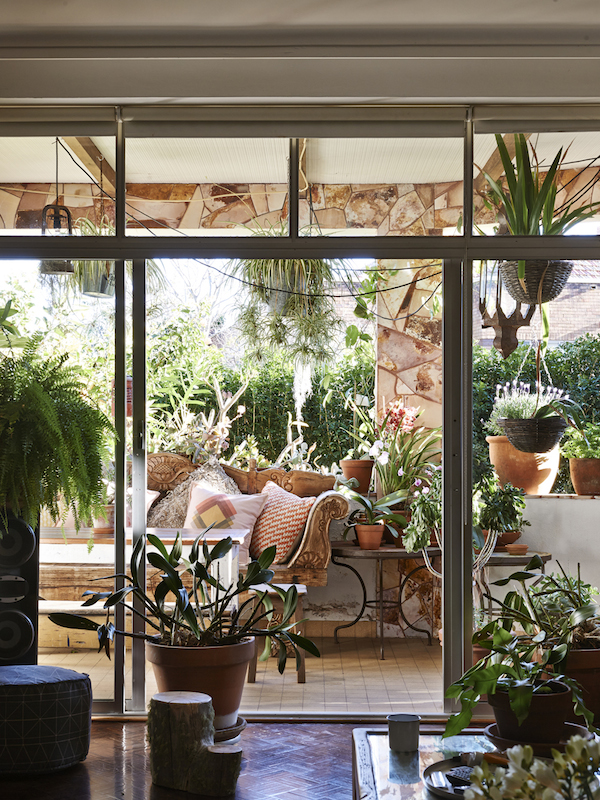 The Sydney home of Dion Antony, Anna Feller and Family. Their garden oasis adjoining the living room is always a favourite spot for a long lunch. Cushions by Pony Rider. Photo –  Eve Wilson.  Production – Lucy Feagins/The Design Files.