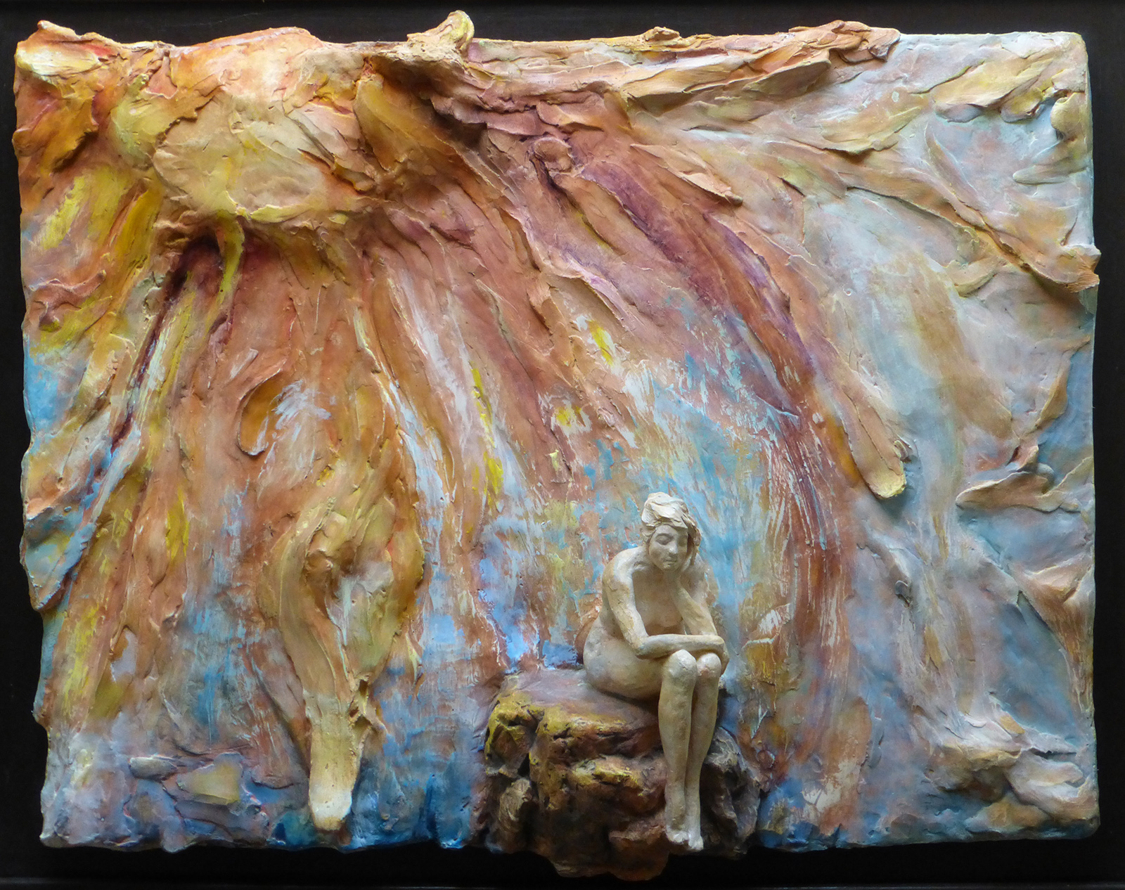 Carmen   Frank    The Muse and The Sun    Plaster with pigments and wood    $1,500