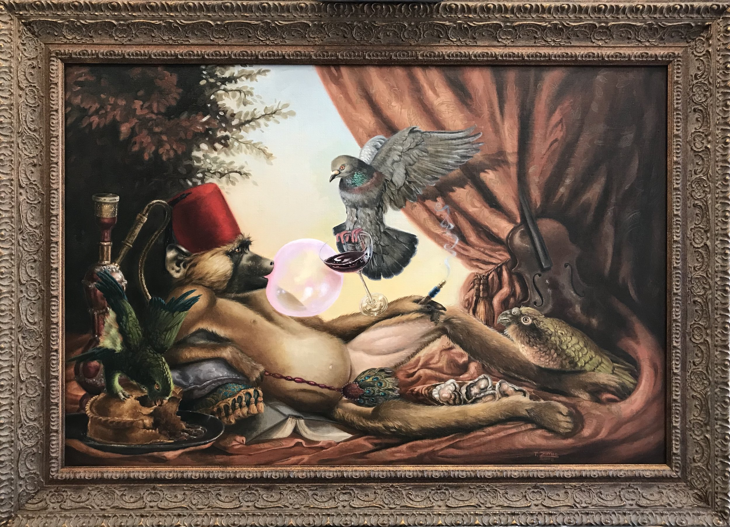 Tricia Zimic Title: Sloth Size: 20 x 30 x 1 Price: $5000 Medium:; Oil