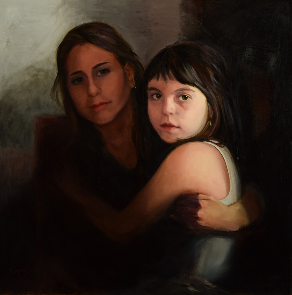 Sandra Corpora Title: Sicilian Cousins Size: 24 x 24 x 1/4 Price: $3200