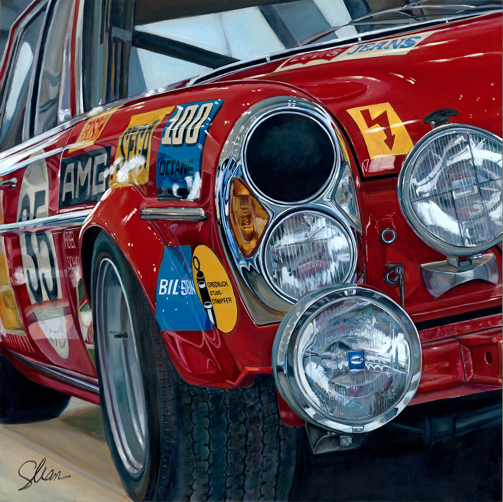 Shannon Fannin Title: 1971 Mercedes AMG 300 aka Red Pig Size: 48 x 48 x 1.5 Price: $10000