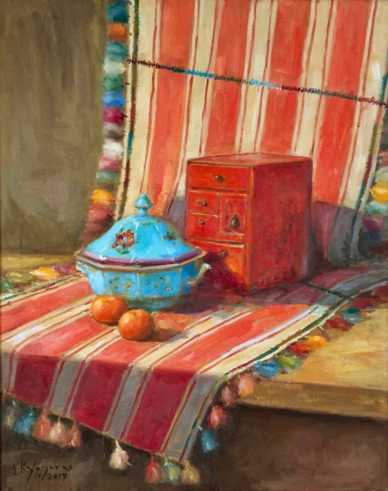 Nikos Kalamaras Title: Vermilion box Size: 30 x 24 Price: $4000