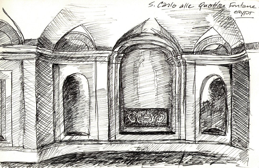 San Carlo alle Quattro Fontane, by Borromini: Crypt