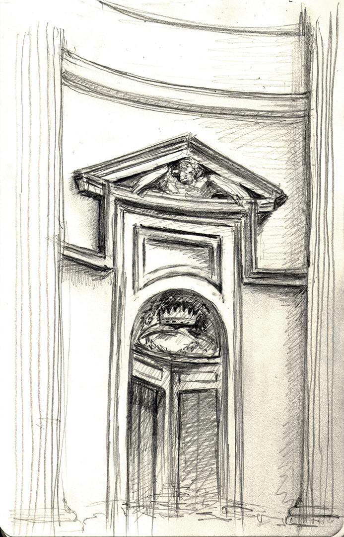 Sant'Ivo alla Sapienza, by Borromini: Interior Pediment
