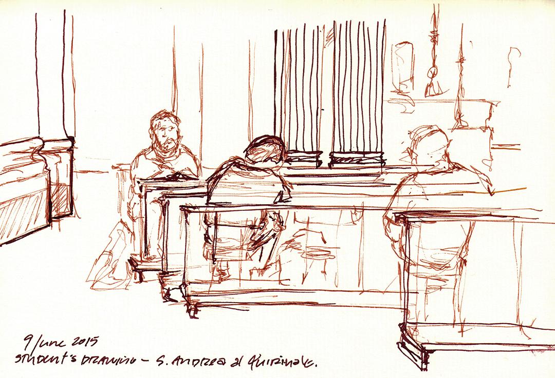 Students drawing in Sant'Andrea al Quirinale, by Bernini