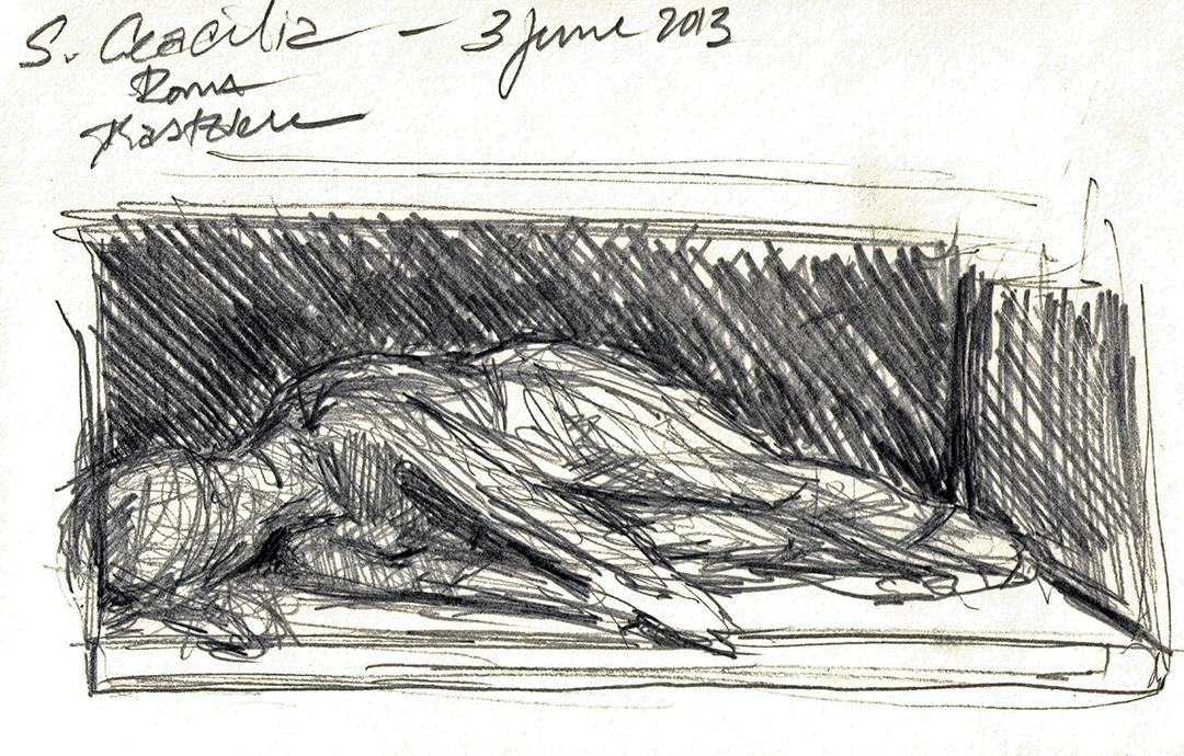 Santa Cecilia in Trastevere: Martyrdom of Saint Cecilia, by Stefano Maderno