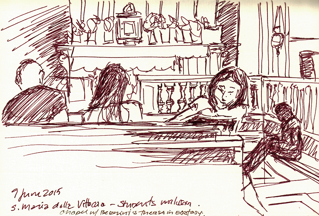 Santa Maria della Vitoria: Students Drawing