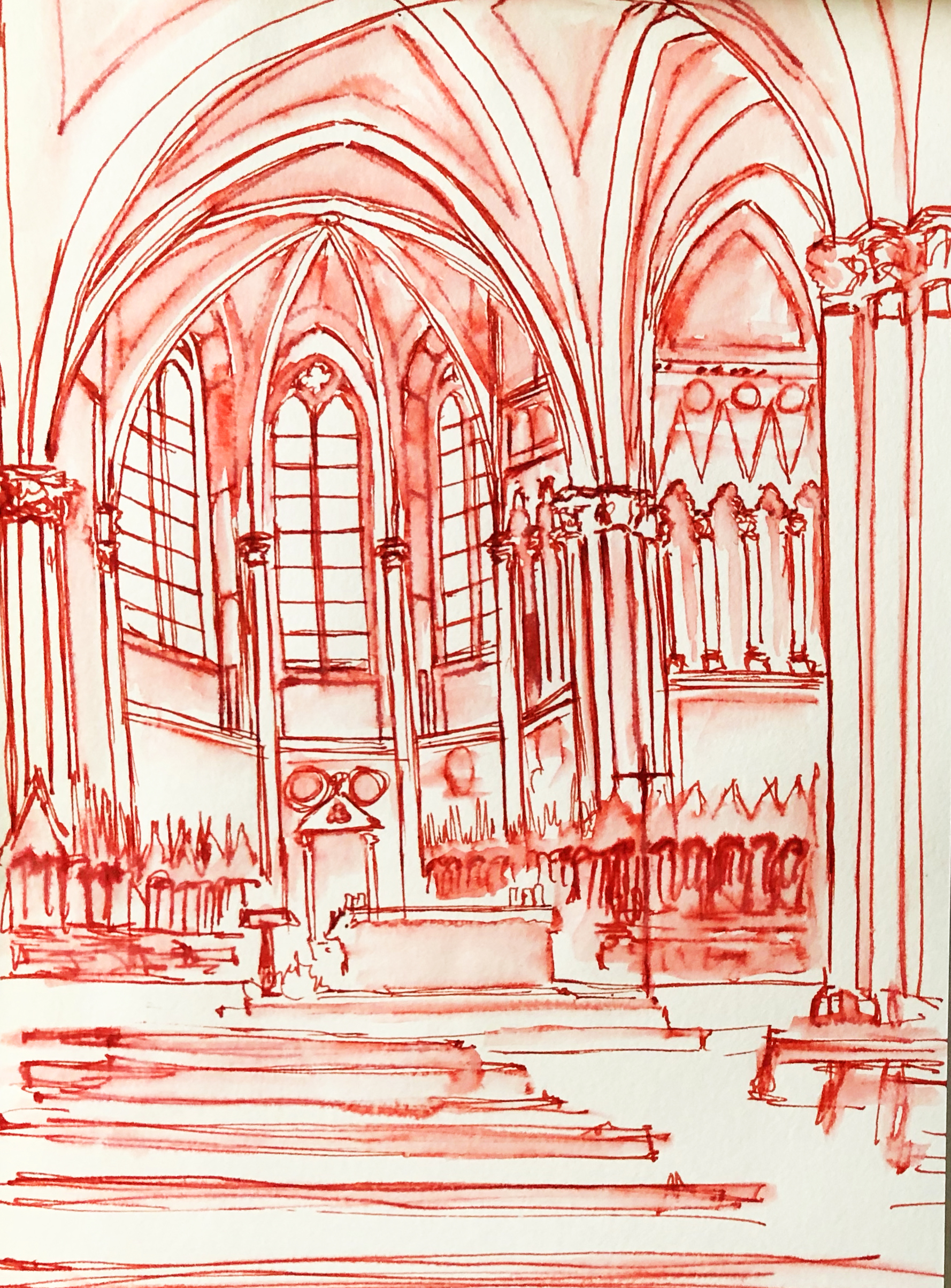 San Francesco Upper Basilica, 2018   Ink and water on paper, 5 x 7 inches