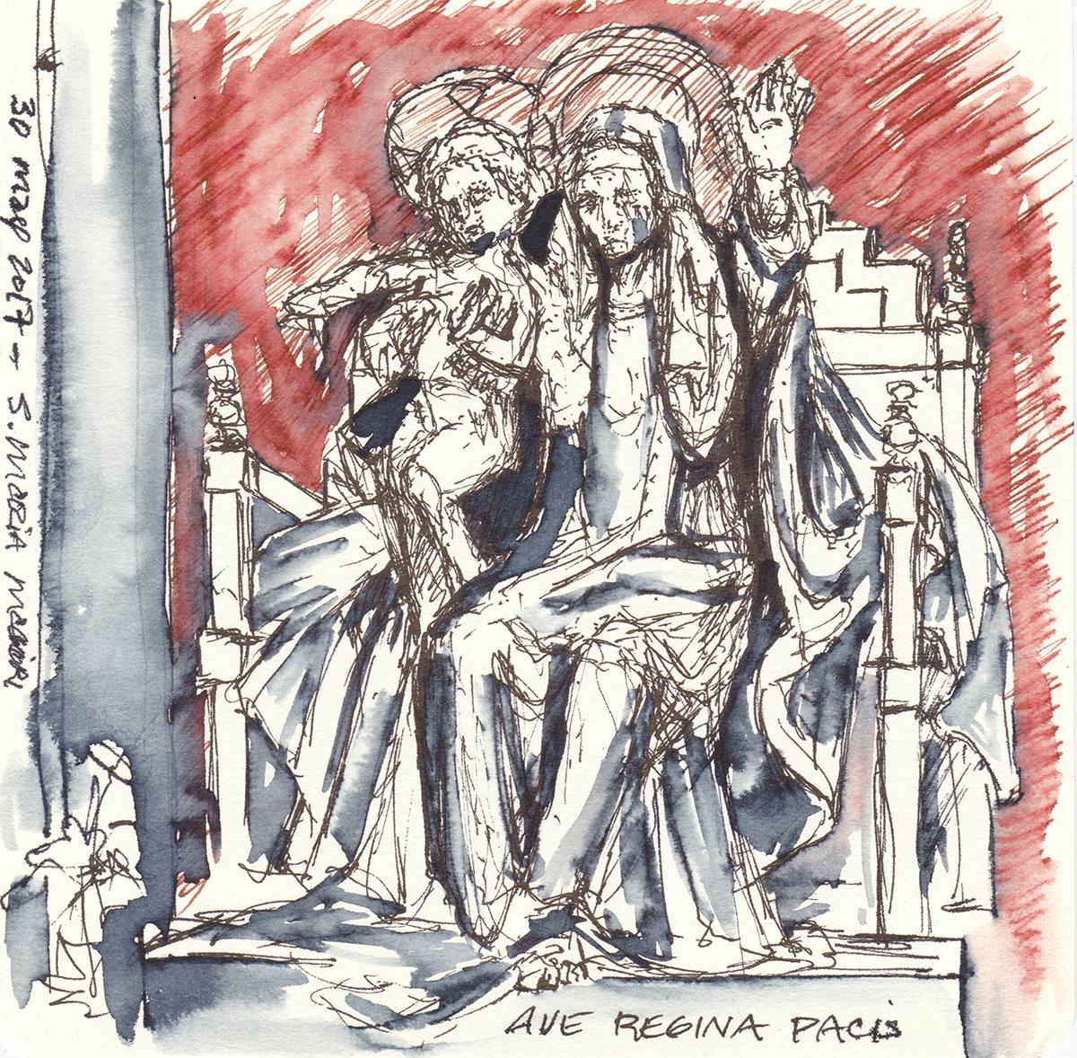Ave Regina Pacis in Santa Maria Maggiore, Rome, Itay Ink on paper, 5.5 x 5.5 inches, 2017