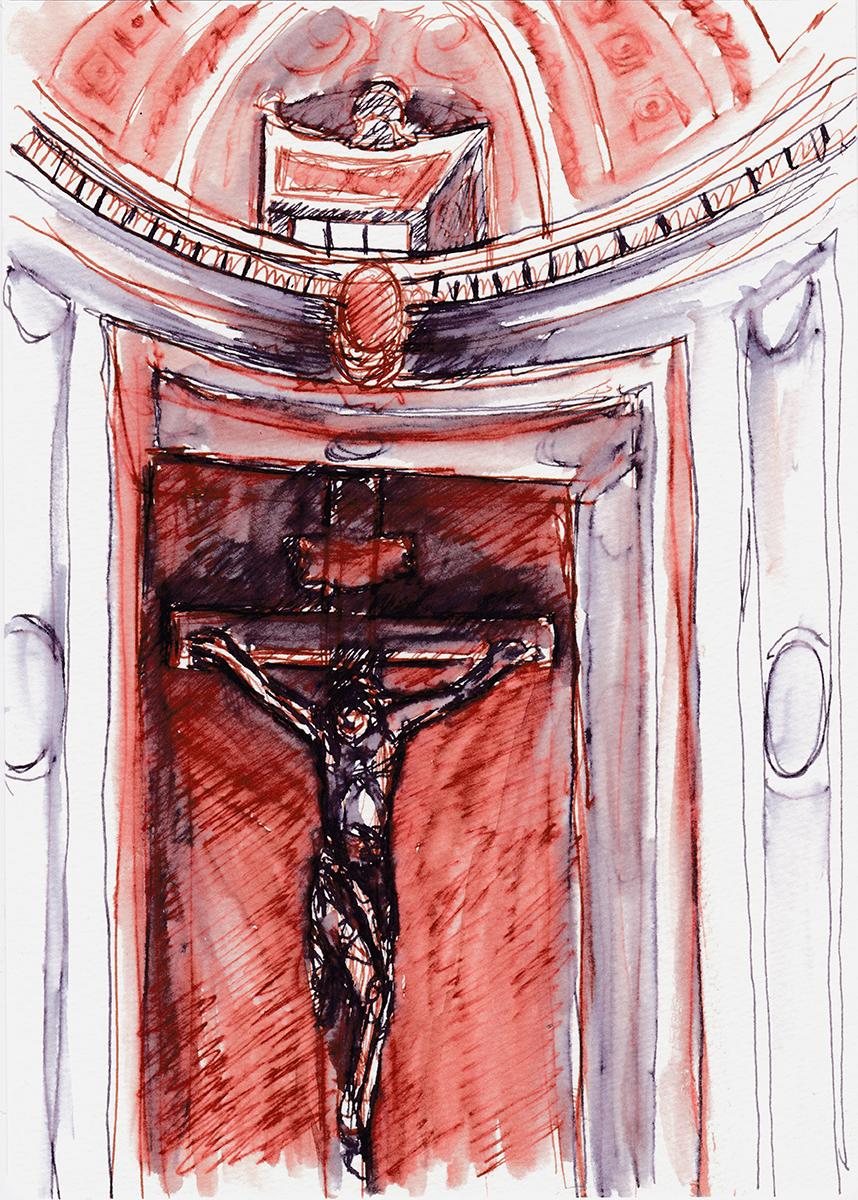 Il Gesu: Crucifix Chapel, Rome, Italy, Ink on paper, 8 x 5 inches, 2017
