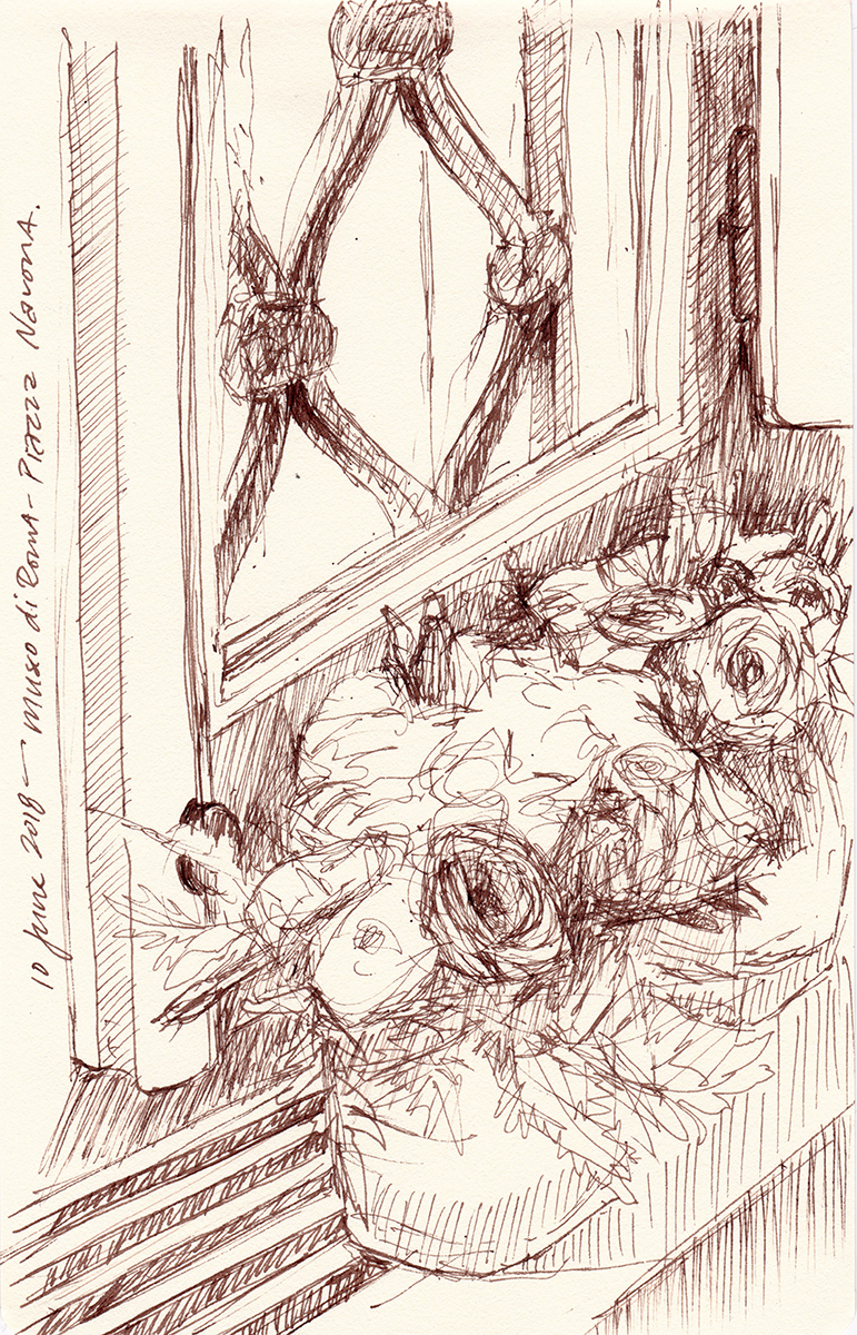 Museo di Roma: Window with Roses, Rome, Italy, Ink on paper, 8 x 5 inches, 2018